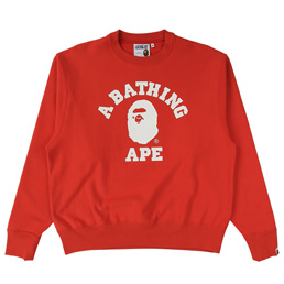 BAPE Relaxed College Crewneck - Red