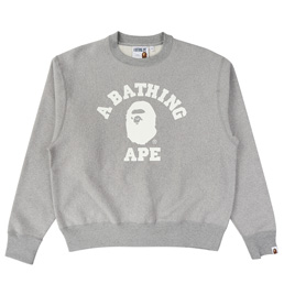 BAPE Relaxed College Crewneck - Gray