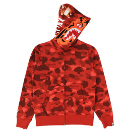 BAPE Color Camo Tiger Full Zip Hoodie - Red