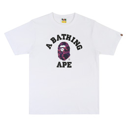 BAPE® Color Camo College T-Shirt- White/Purple