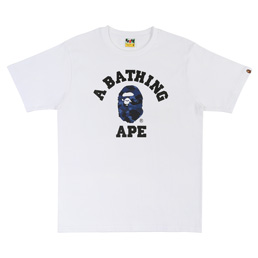 BAPE® Color Camo College T-Shirt- White/Navy