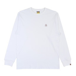 BAPE® Shark One Point L/S T-Shirt- White