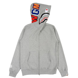 BAPE® Shark Full Zip Hoodie- Grey