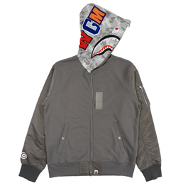 BAPE® Digital Camo Military Shark Zip Hood- Grey