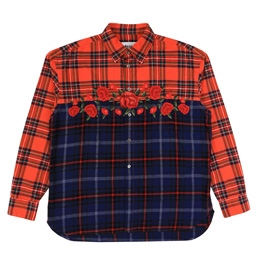 Awake NY Embroidered Rose Flannel Red
