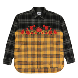 Awake NY Embroidered Rose Flannel Black