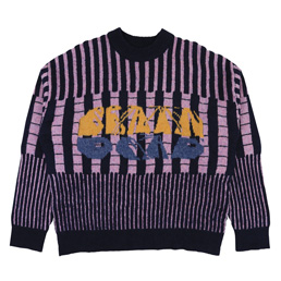 Brain Dead Varied Stripe Mock Neck Sweater- Multi