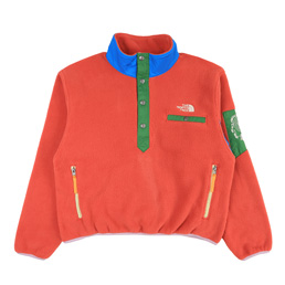 Braindead x TNF 89 Placket Pullover Fleece- Red