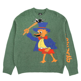 Brain Dead Duck Novelty Knit Sweater- Green