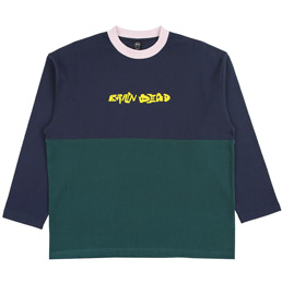 Brain Dead Heavyweight Emb Paneled Shirt- Navy