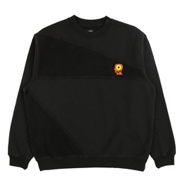 Brain Dead Sunflower Paneled Crewneck- Black