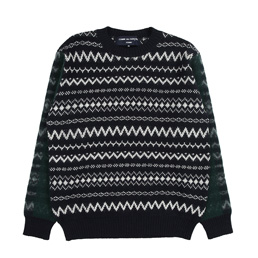CDGH Wool Jacquard Needle Punch Sweater- Navy