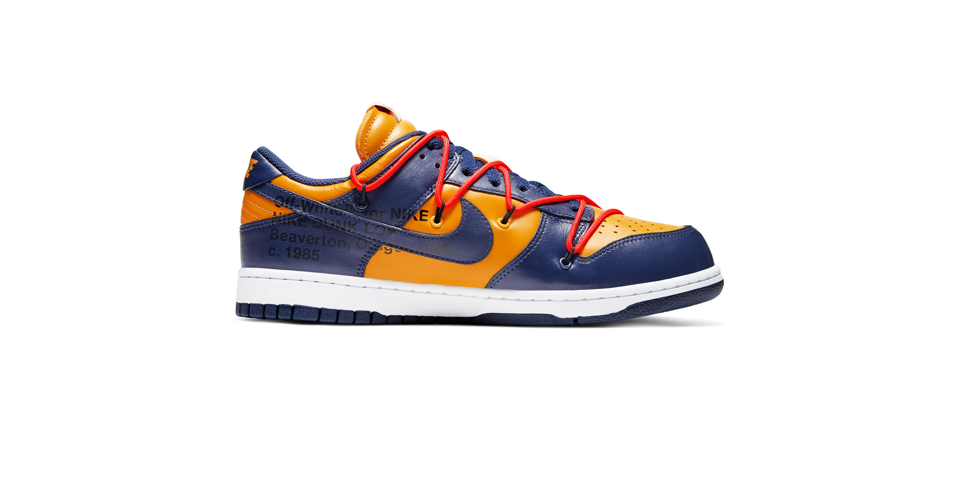 NIKE DUNK LOW LEATHER X OFF-WHITE – UNIVERSITY GOLD/MIDNIGHT NAVY-WHITE