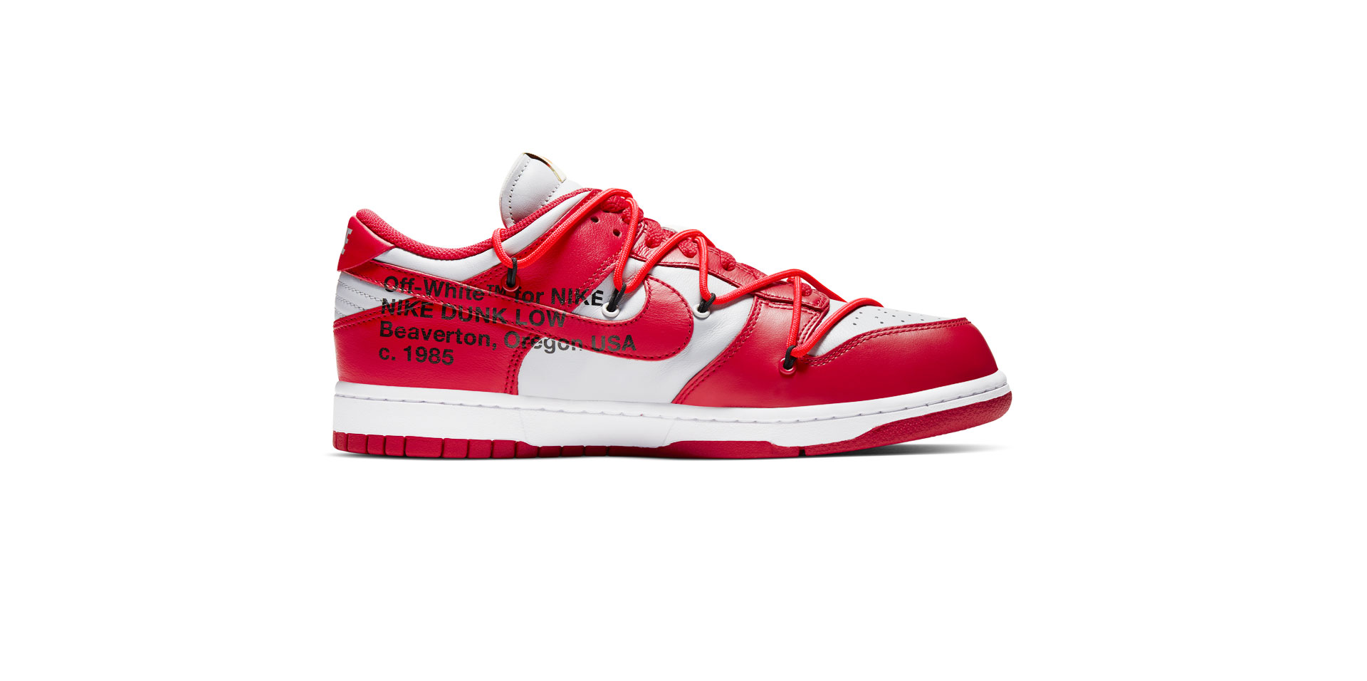 NIKE DUNK LOW LEATHER X OFF-WHITE – UNIVERSITY RED/UNIVERSITY RED-WOLF GREY