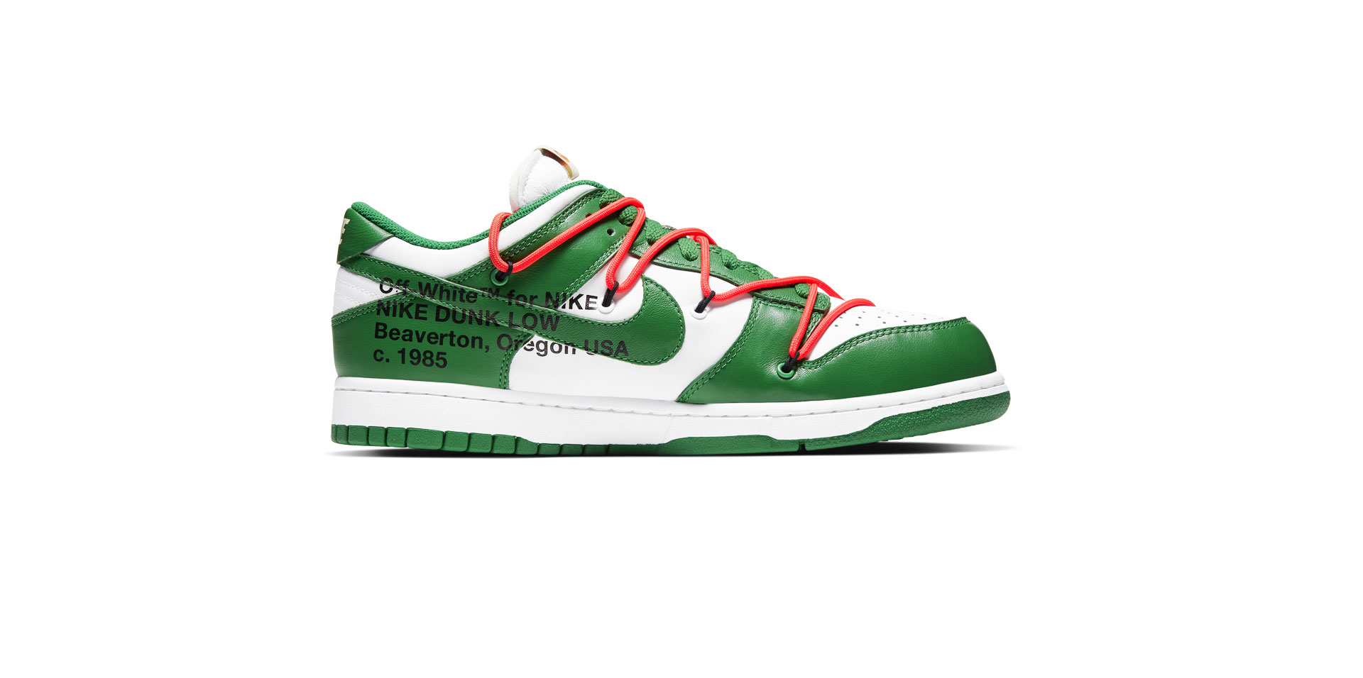 NIKE DUNK LOW LEATHER X OFF-WHITE – WHITE/PINE GREEN-PINE GREEN