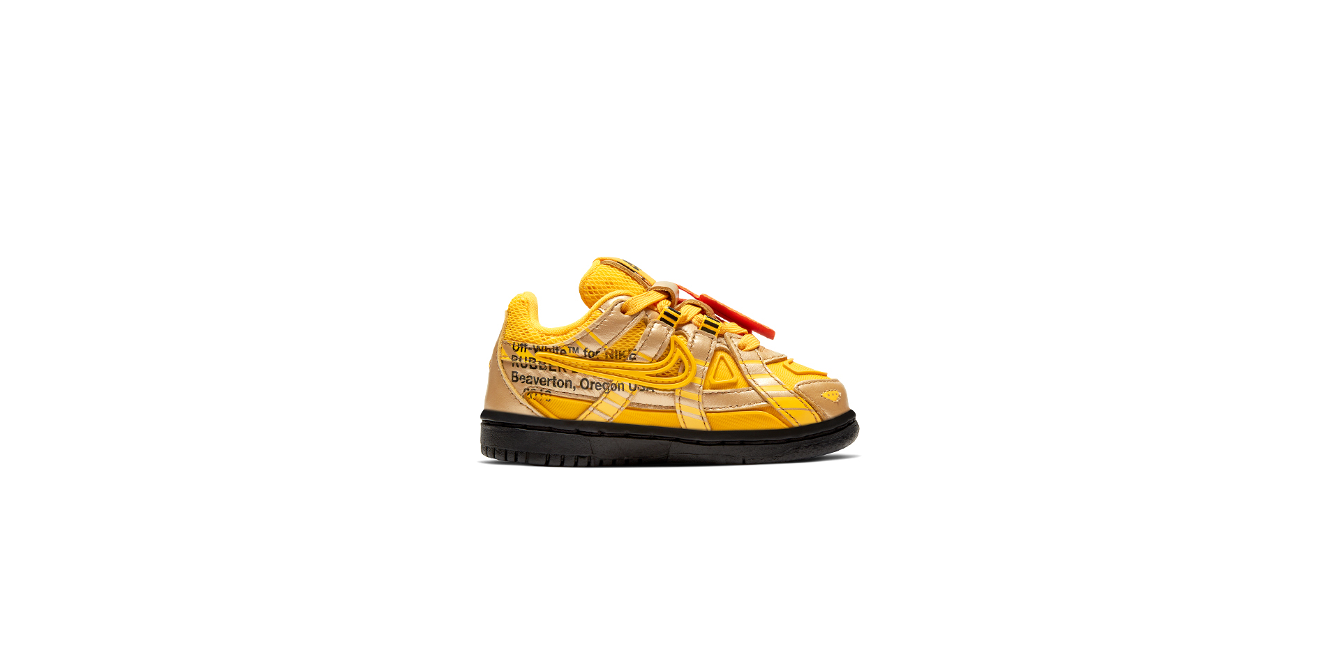 NIKE RUBBER DUNK X OFF-WHITE (TODDLER) - UNI GOLD/BLK